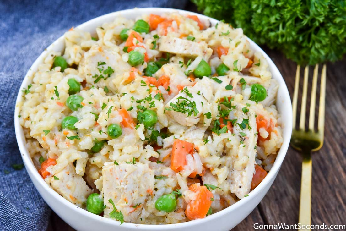 Instant Pot chicken and rice in a bowl