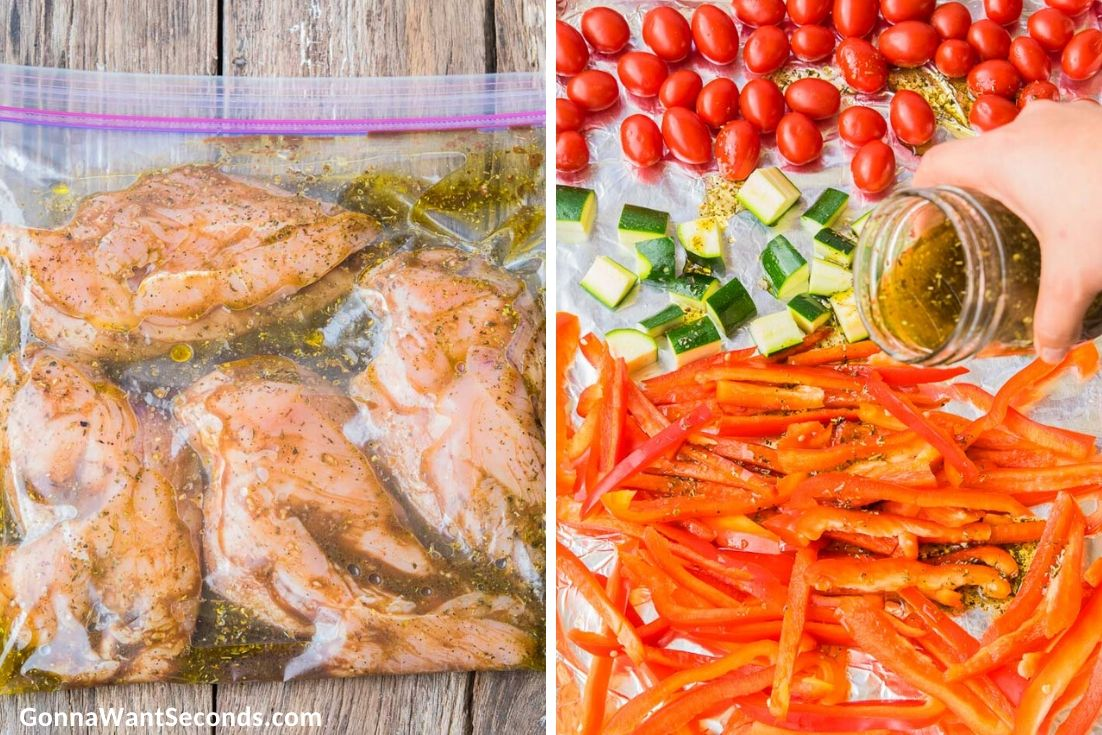 How to make Italian chicken, marinating chicken in a ziploc, pouring dressing over veggies