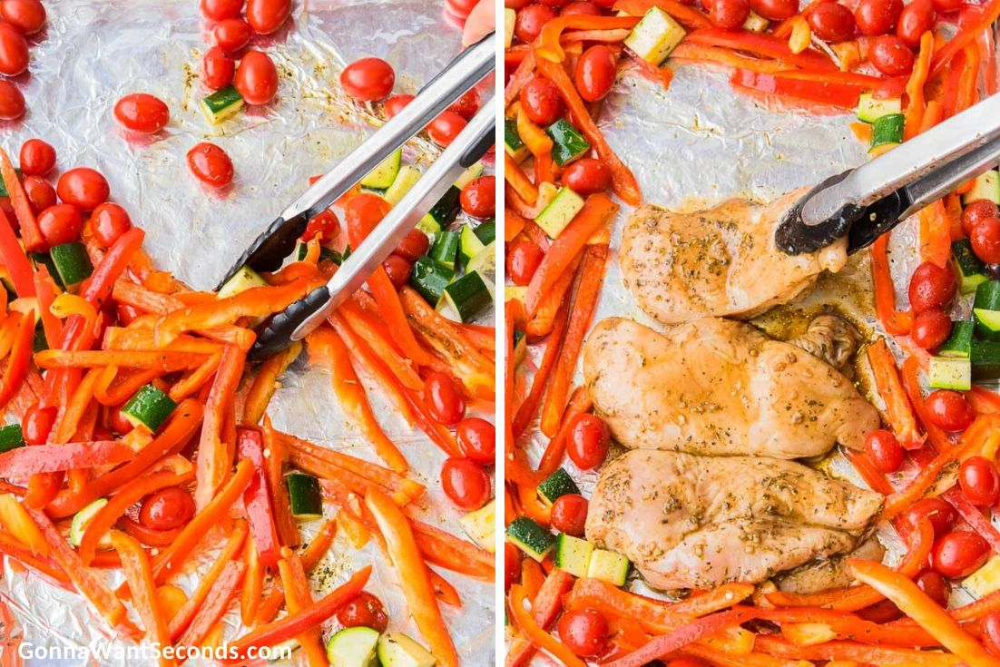 How to make Italian chicken, mixing veggies and putting the chicken breast at the center of the sheet pan