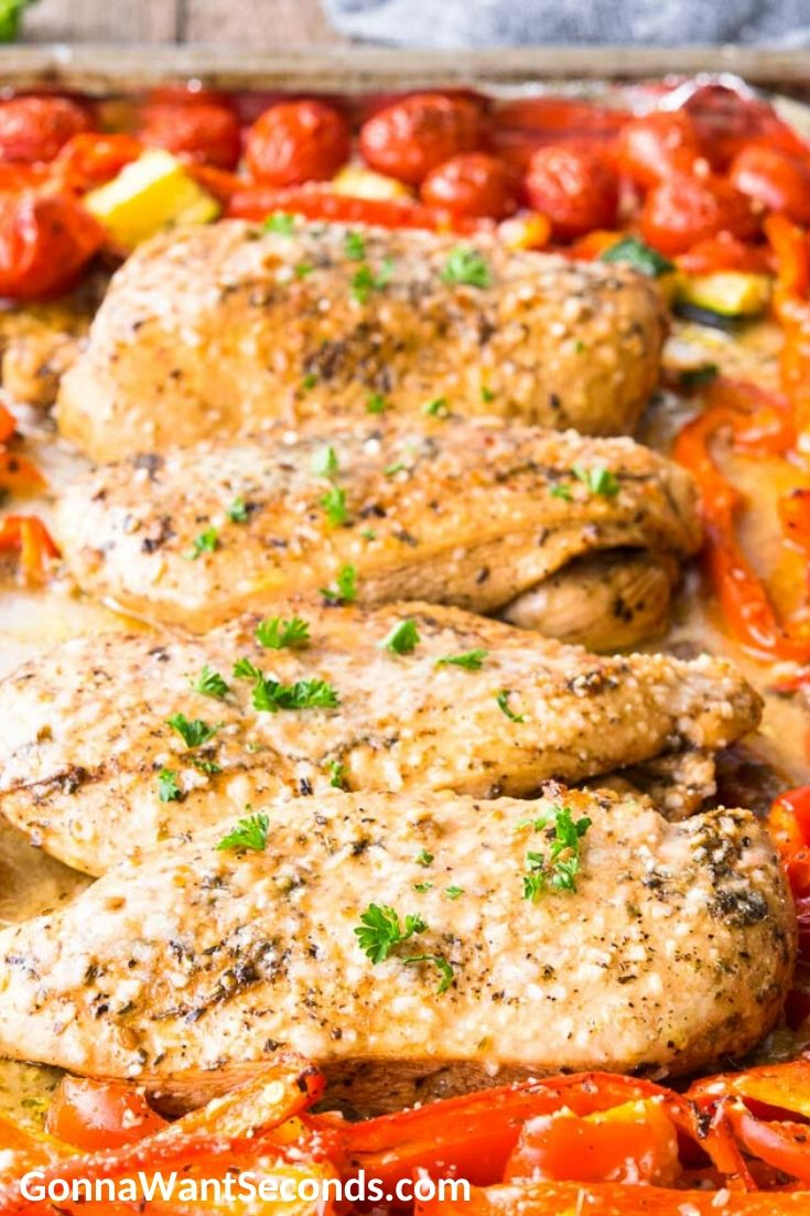 Italian chicken with veggies on a sheet pan