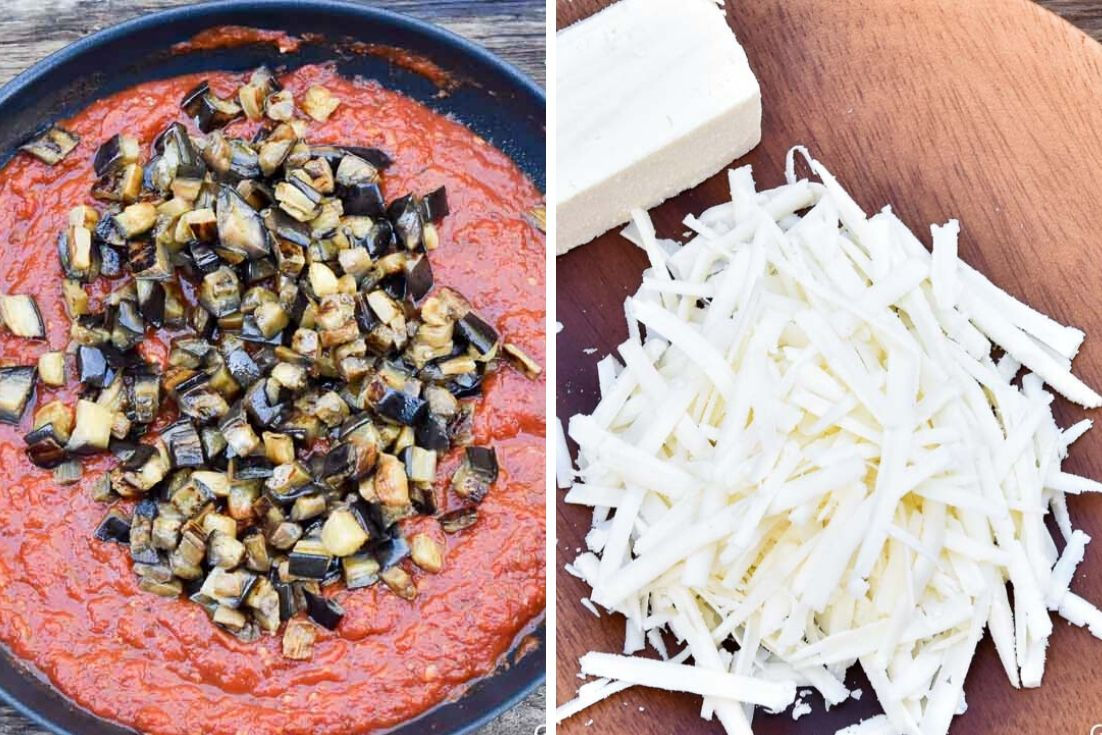 How to make Pasta Alla Norma, mixing eggplant to the sauce