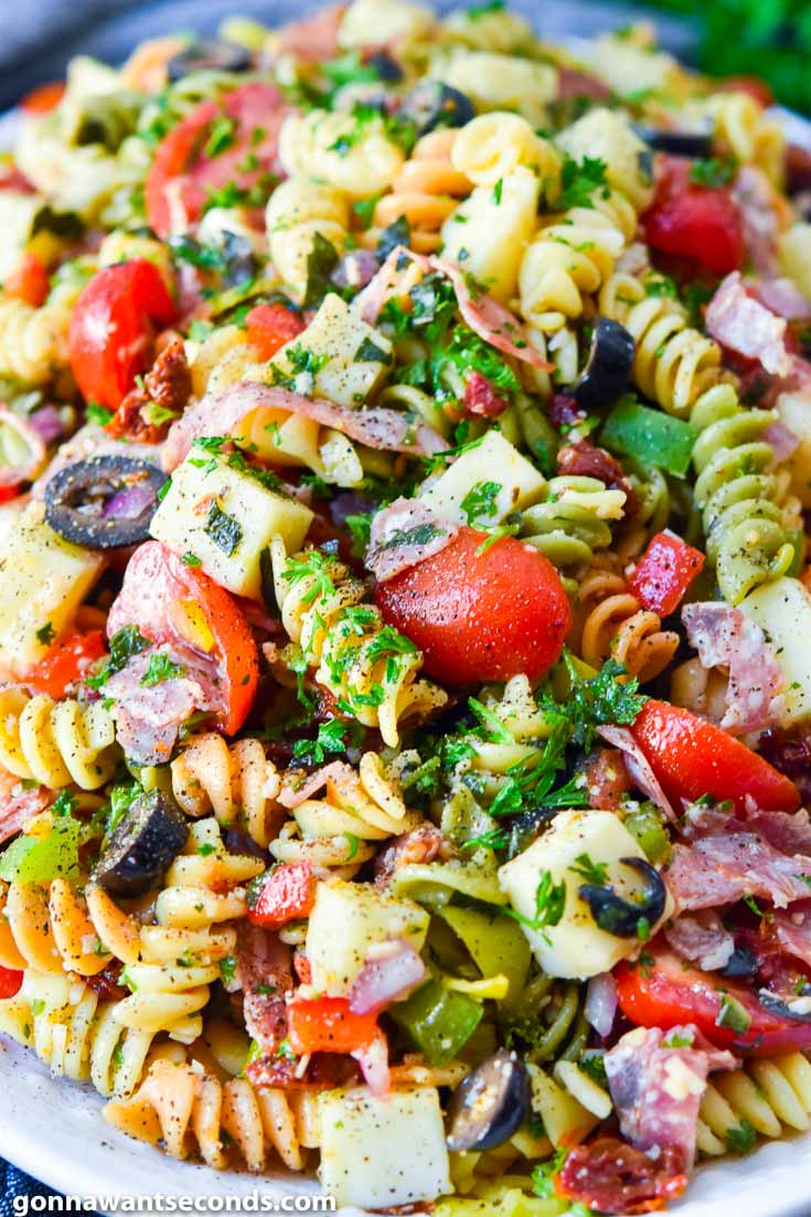 Pasta Salad with Italian Dressing on a serving plate