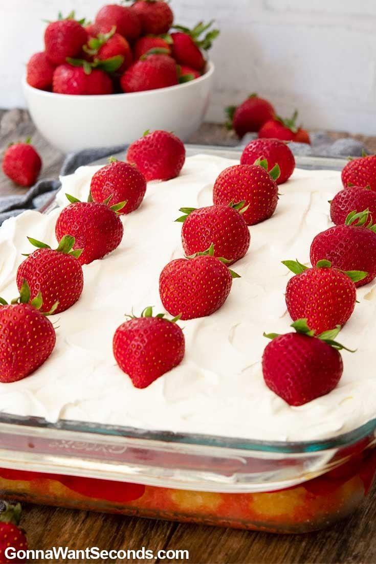 Strawberry Poke Cake in a baking pan
