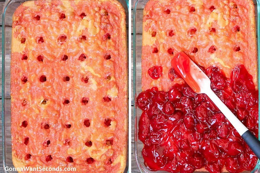 How to make Strawberry Poke Cake, spreading strawberry pie filling