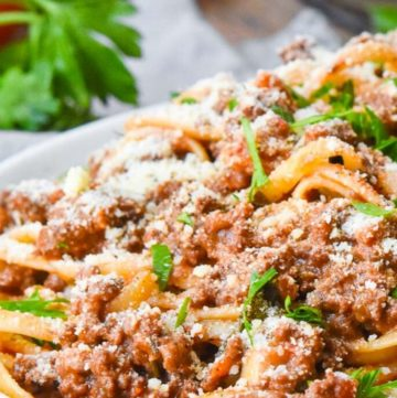 Weeknight Bolognese on a plate
