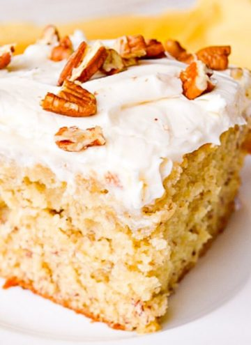 A slice of Banana Cake with Cream Cheese Frosting