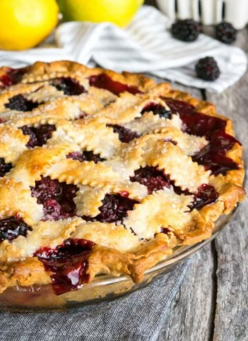 blackberry pie on a wooden table
