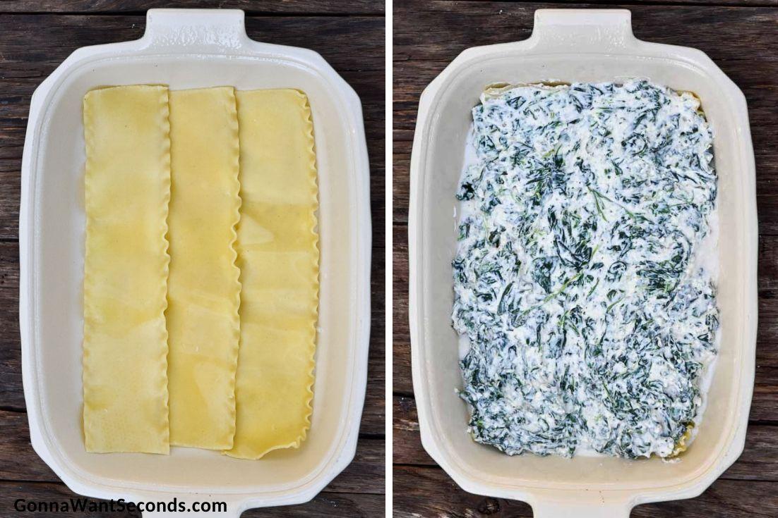 How to make chicken lasagna, layering lasagna noodles and ricotta filling