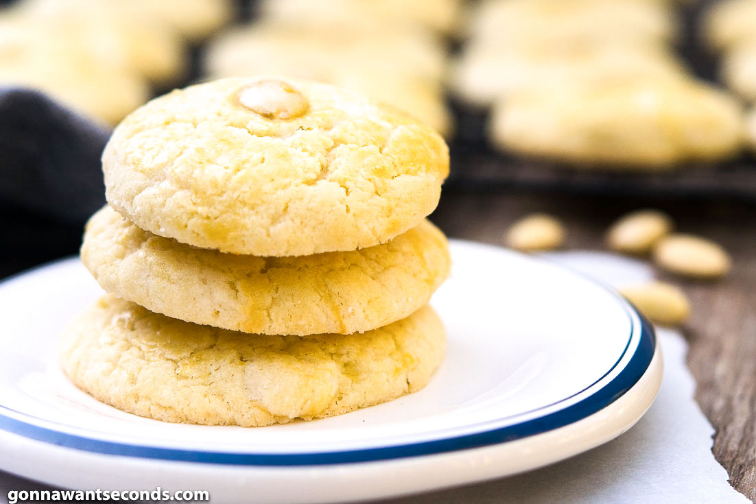 Chinese Almond Cookies stack on top of each other