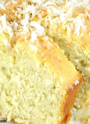 Coconut buttermilk cake loaf with slices