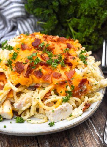 Crack chicken spaghetti bake on a plate