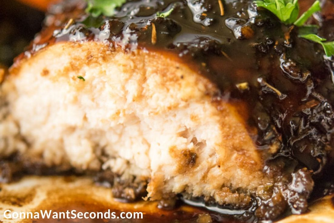 Honey Balsamic Chicken on a plate, close up