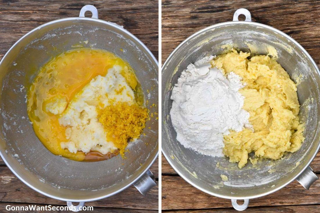 How to make Lemon Sugar Cookies, adding flour to lemon mixture