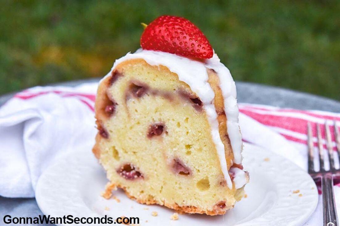 A slice of Strawberry pound cake