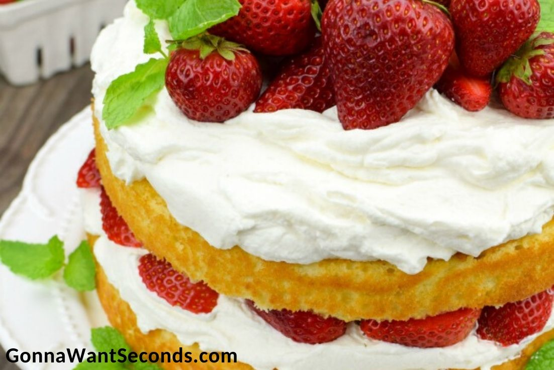 Strawberry Shortcake Cake on a cake stand