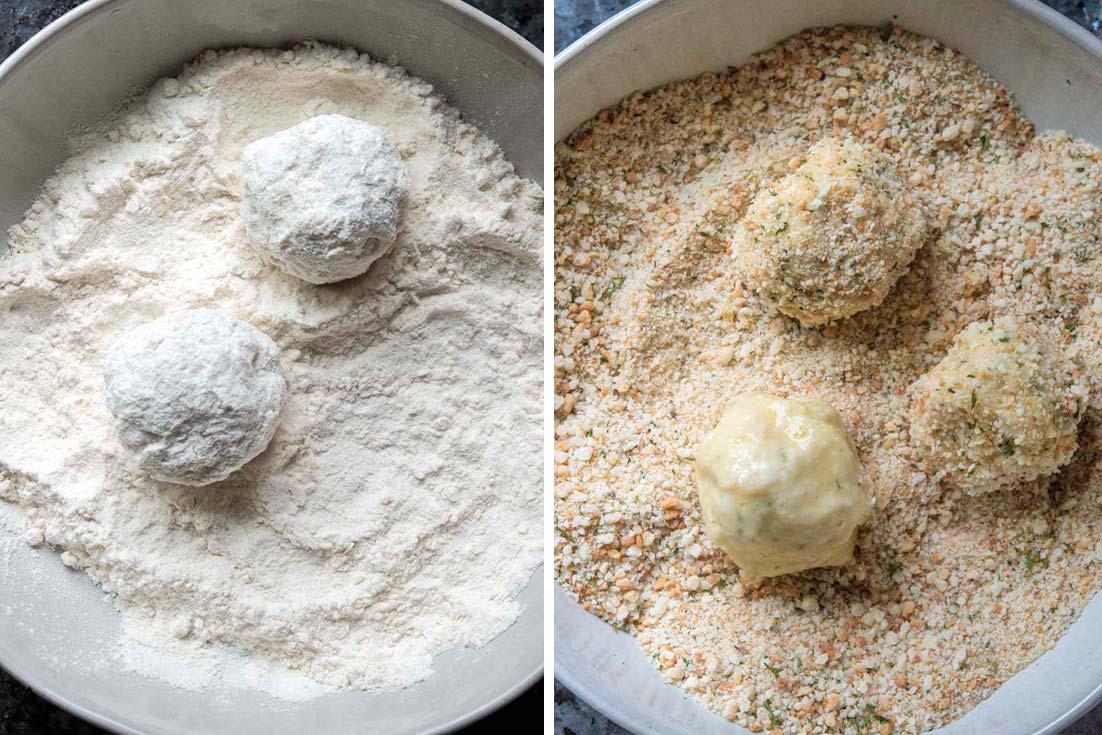 breading the Air fryer arancini recipe