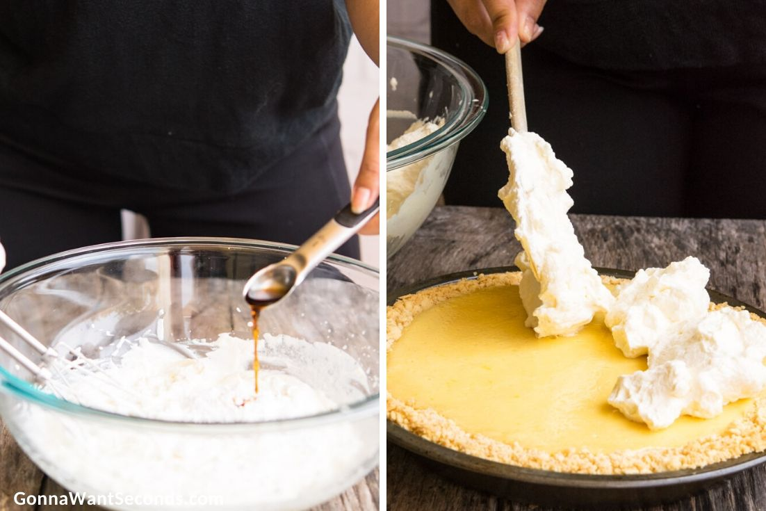 How to make Atlantic Beach Pie, adding vanilla to the topping mixture and spreading over the pie