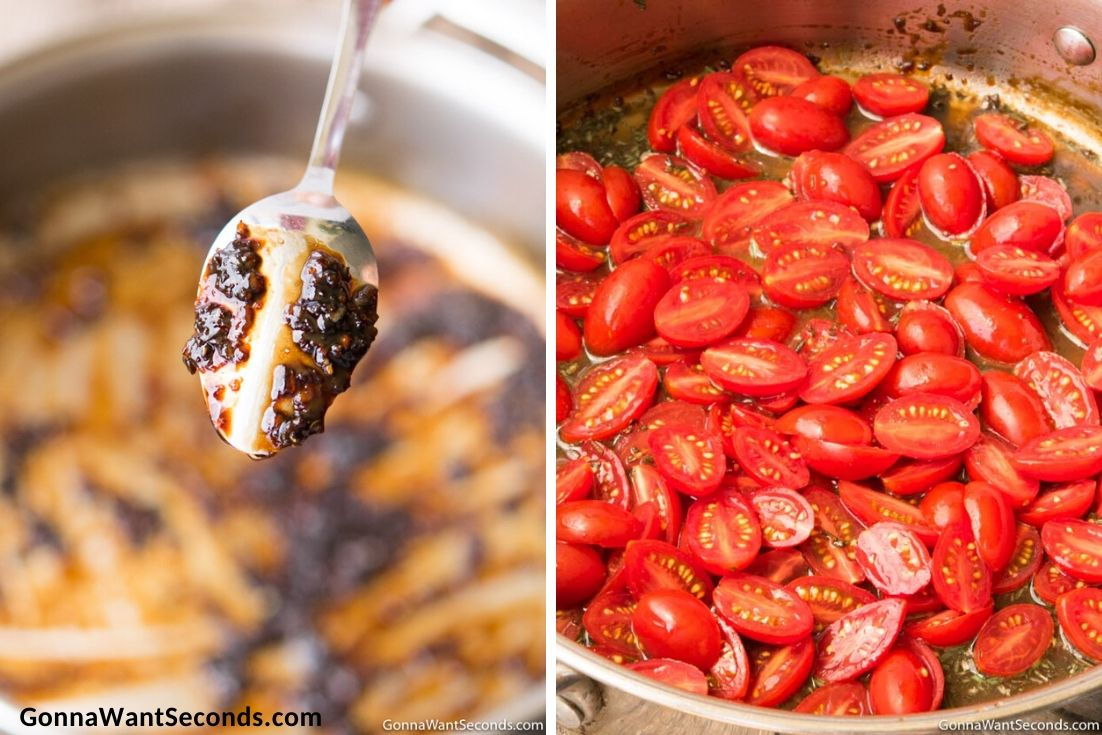 How to make Balsamic Chicken, reduced vinegar and adding tomatoes