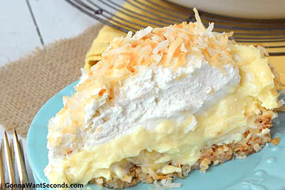 A slice Banana Coconut Cream Pie