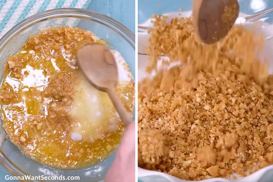 How to make Banana Cream Pie, mixing the crust ingredients