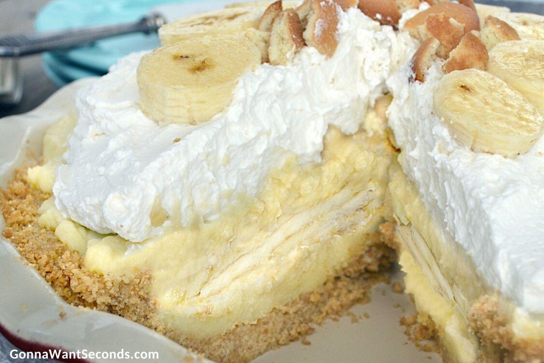 Sliced whole Banana Cream Pie