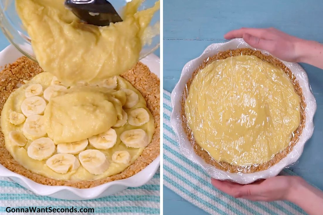 How to make Banana Cream Pie, pouring the filling to the pie