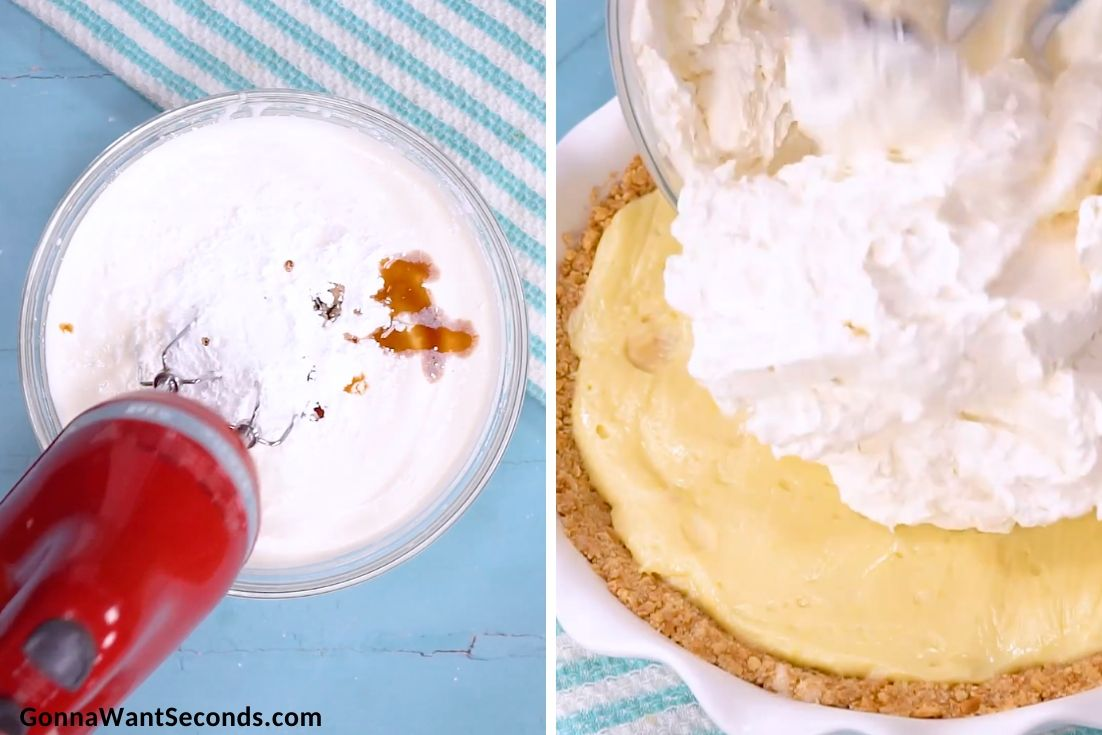 How to make Banana Cream Pie, mixing topping ingredients and topping it to the pie
