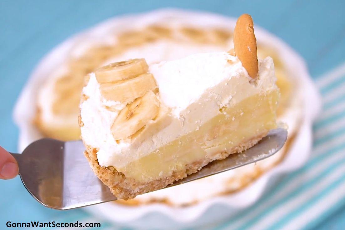 A slice of Banana Cream Pie, close up