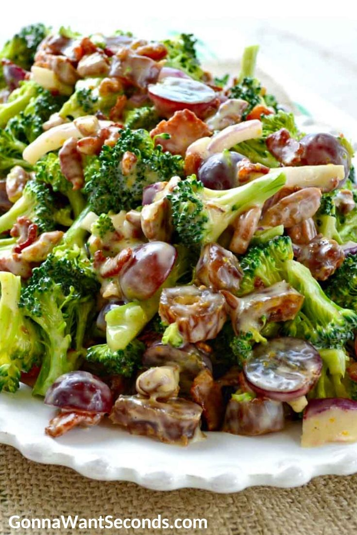Broccoli Salad in an oval serving plate