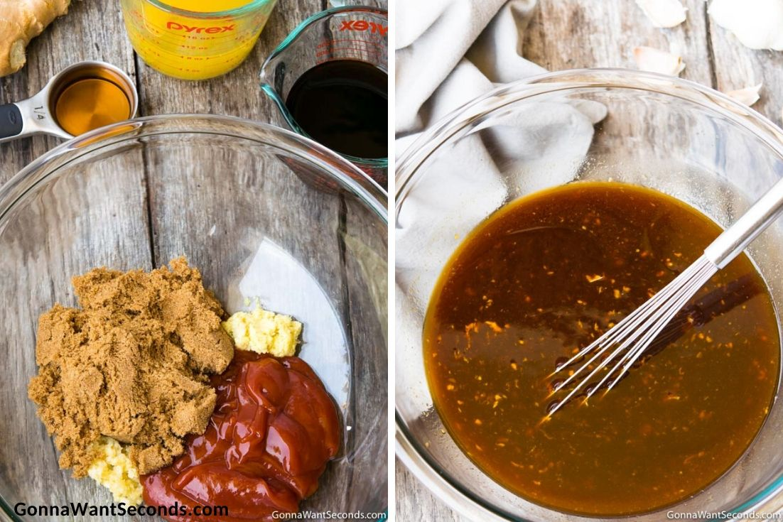 How to make Huli Huli chicken, mixing all marinade ingredients in the mixing bowl