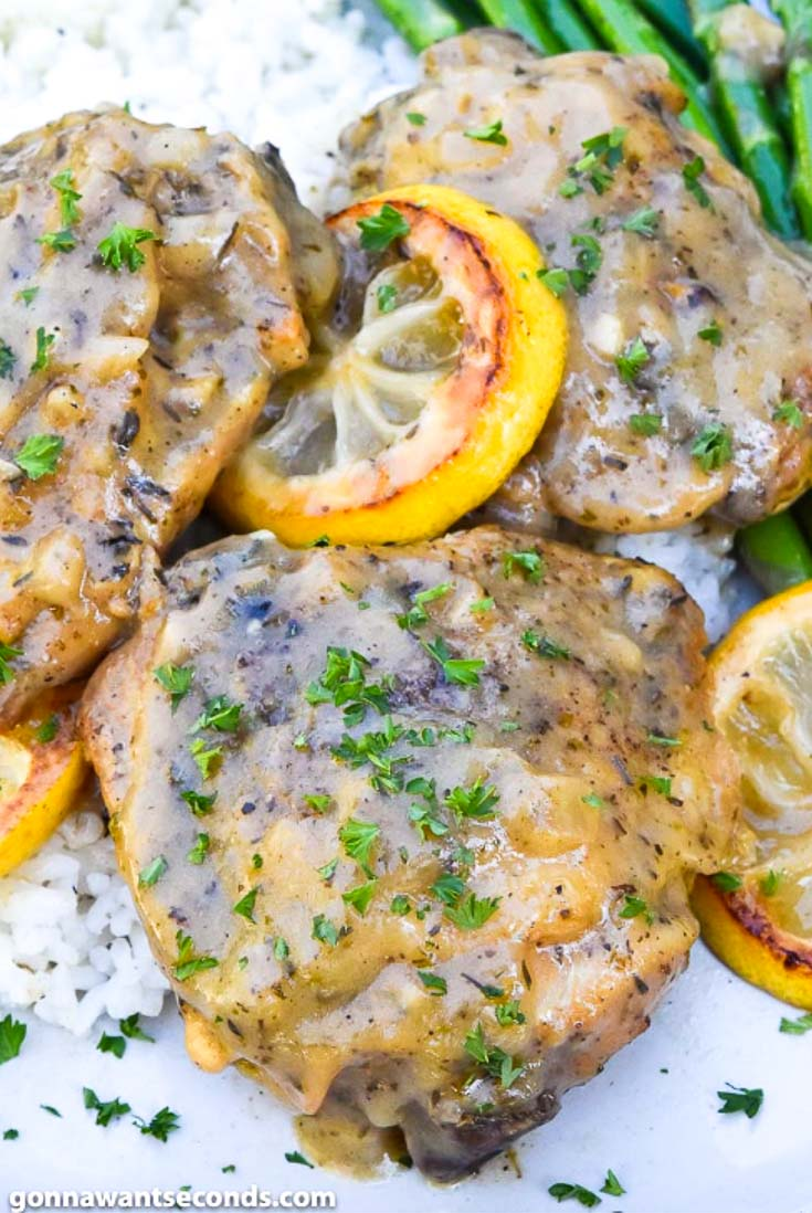 Instant Pot lemon chicken, close up