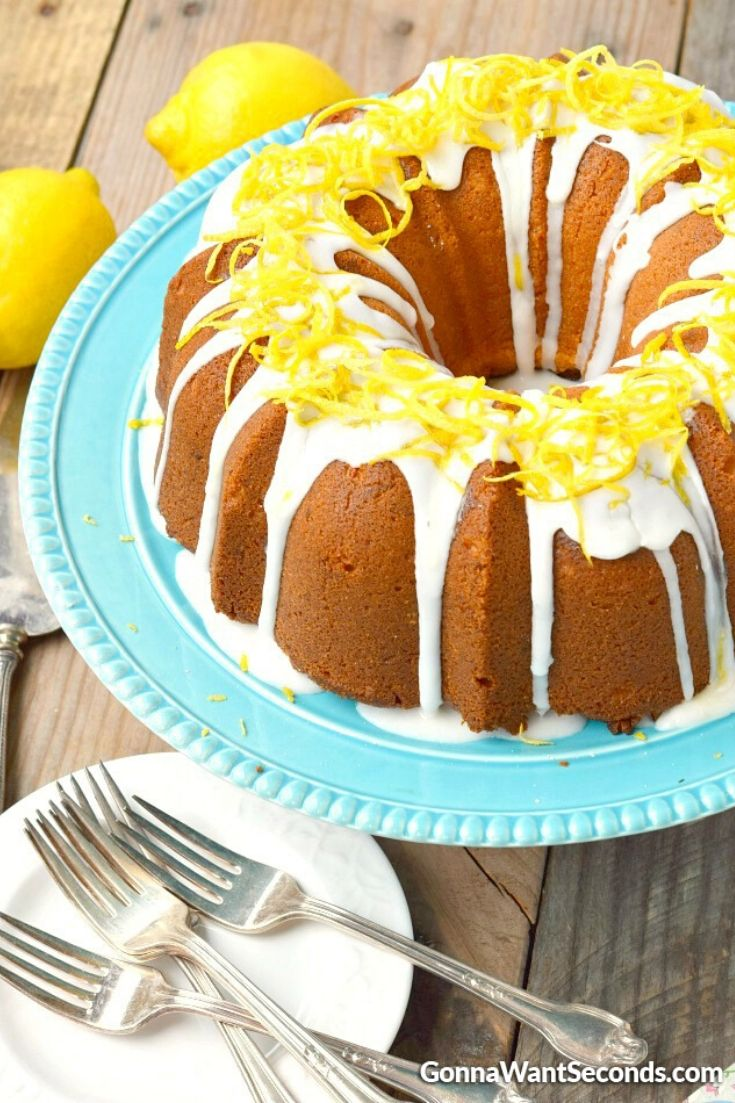 Lemon cream cheese pound cake on a cake stand