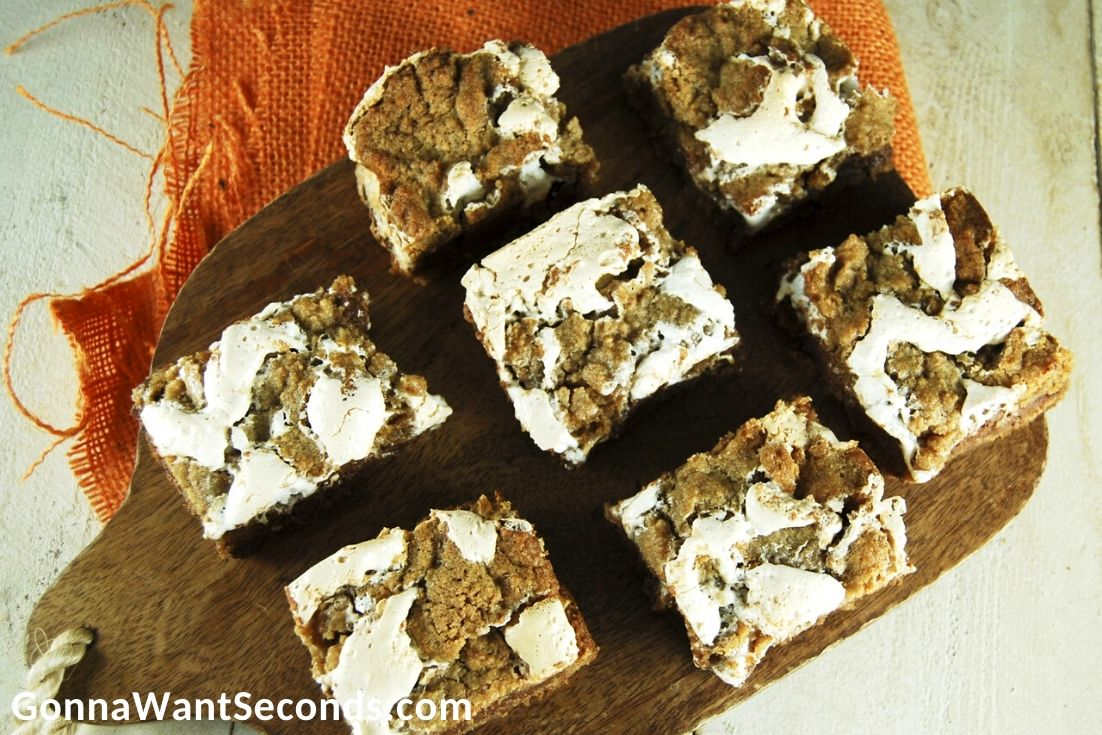 s'more bars slices on a chopping board
