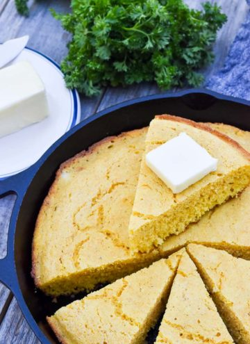 Southern cornbread in a cast iron skillet