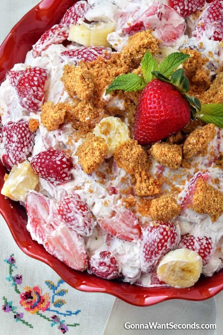 Strawberry cheesecake salad in a red pie plate