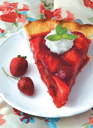 A slice of Strawberry Pie on a plate