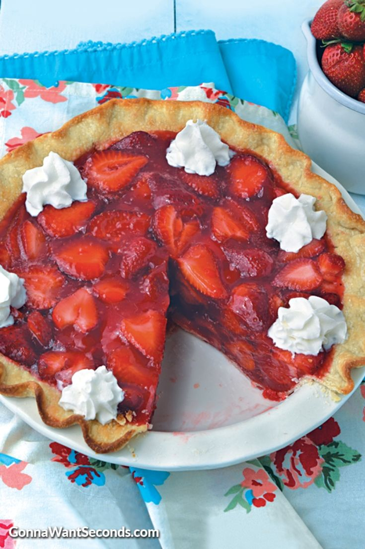 Whole Strawberry Pie in a pie plate