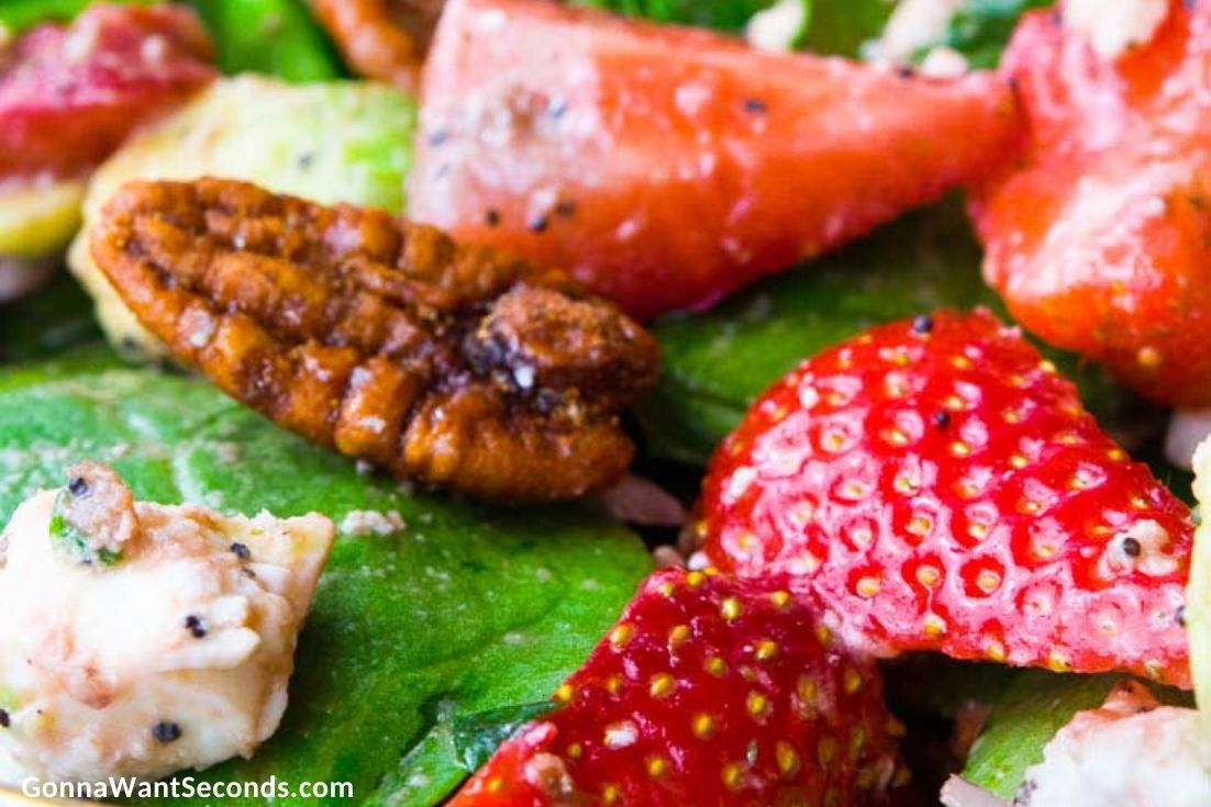 Strawberry Spinach Salad, close up