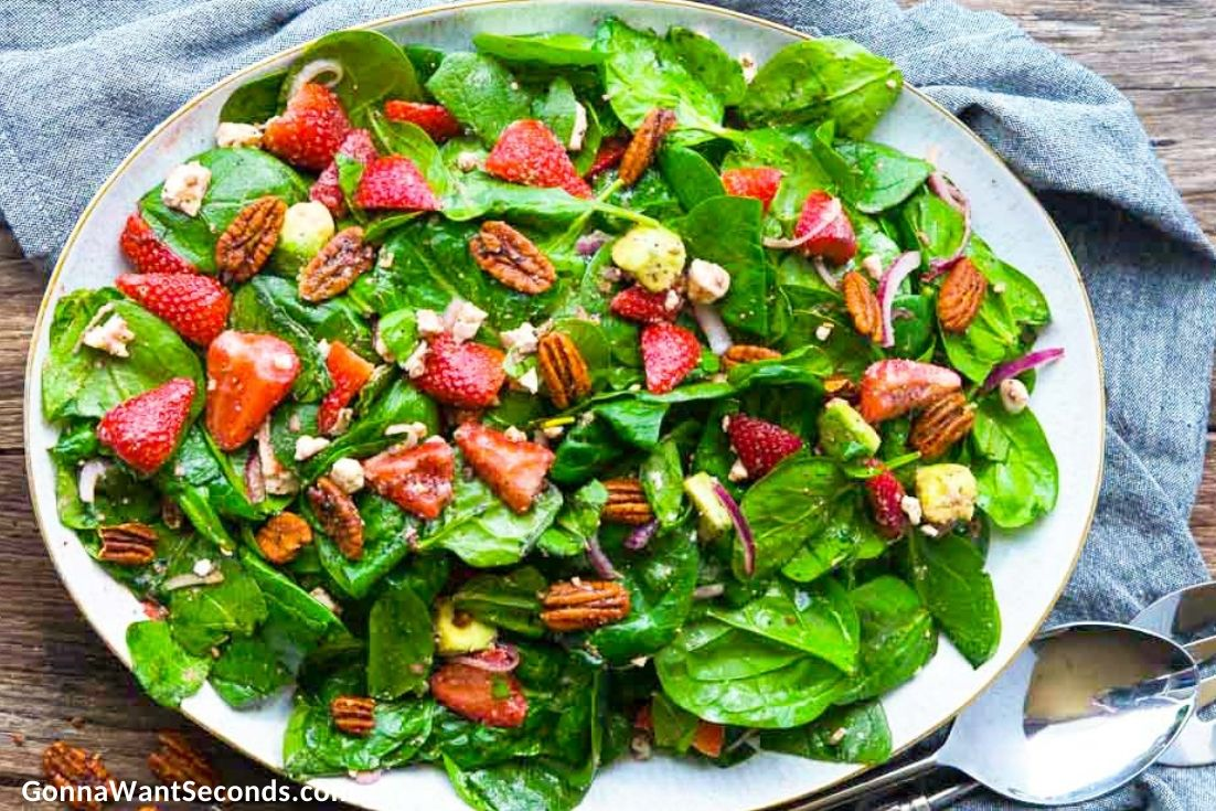 Strawberry Spinach Salad on a serving plate