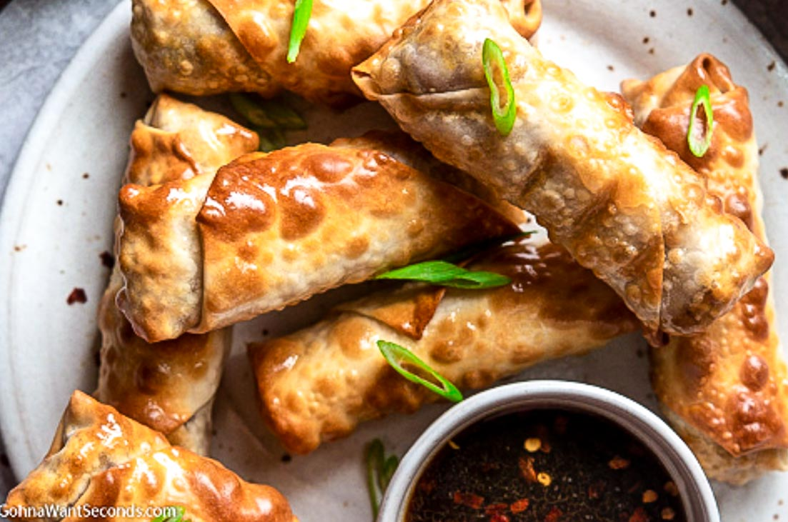 close up of Air Fryer Egg Rolls