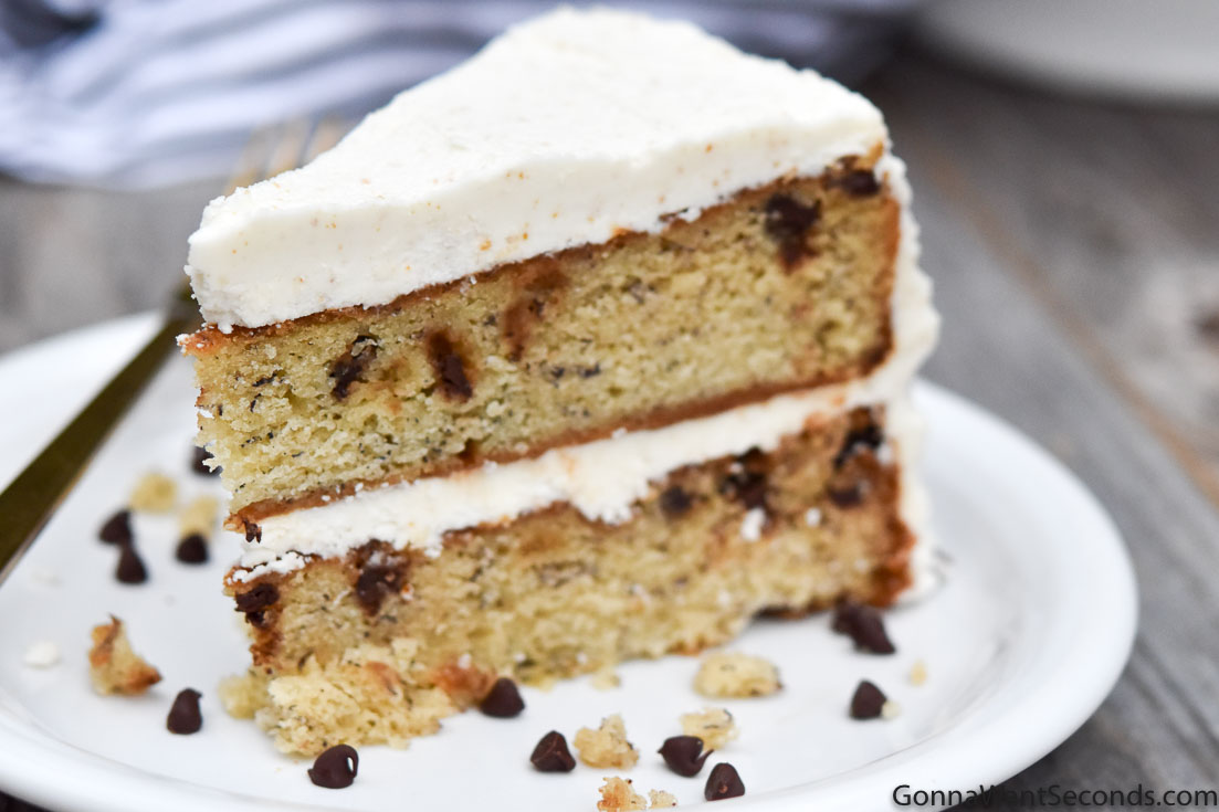 A slice of Banana Chocolate Chip Cake With Brown Butter Frosting