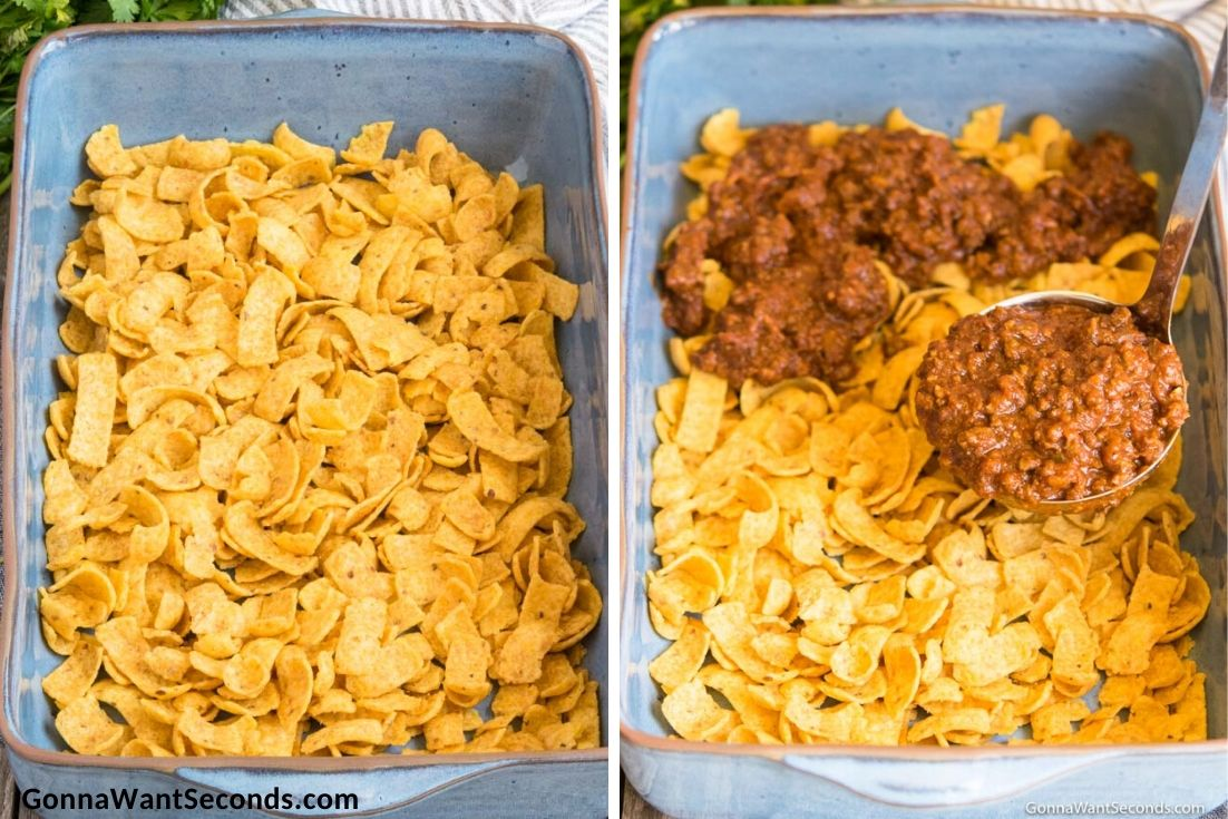 How to make Frito Pie, layering fritos and topping it with texas chili
