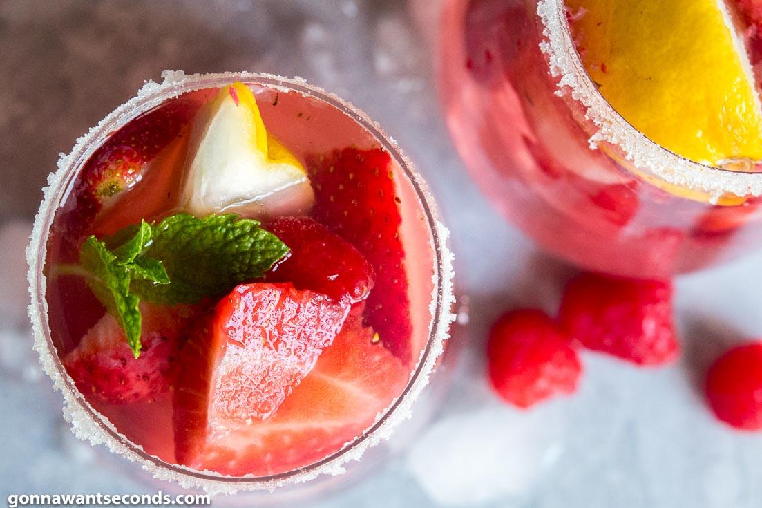 Giggle Juice in sugar-rimmed glasses