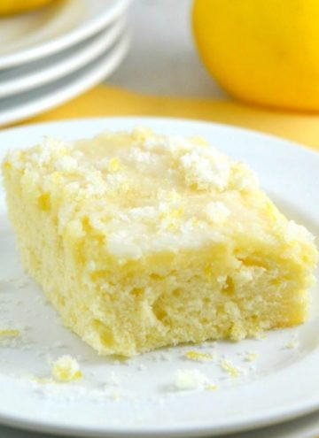 A slice of lemon cake on a plate