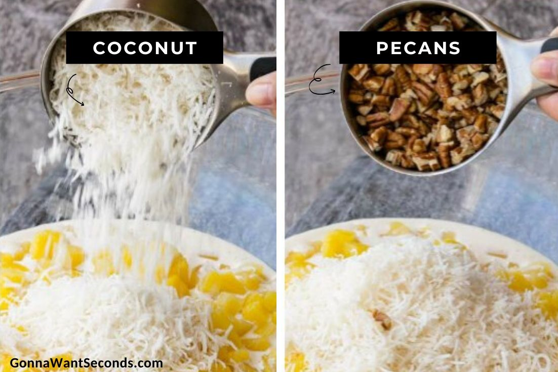 How to make Million Dollar Pie, adding coconut and pecans
