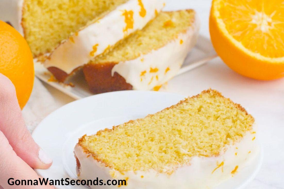 Orange Pound Cake with orange syrup and orange glaze