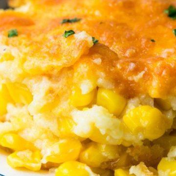 Paula Deen corn casserole on a plate