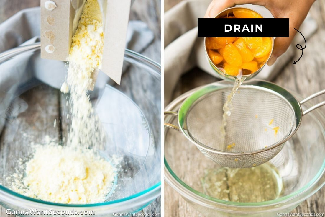 How to make Pig Pickin Cake, adding pudding mix and draining canned oranges