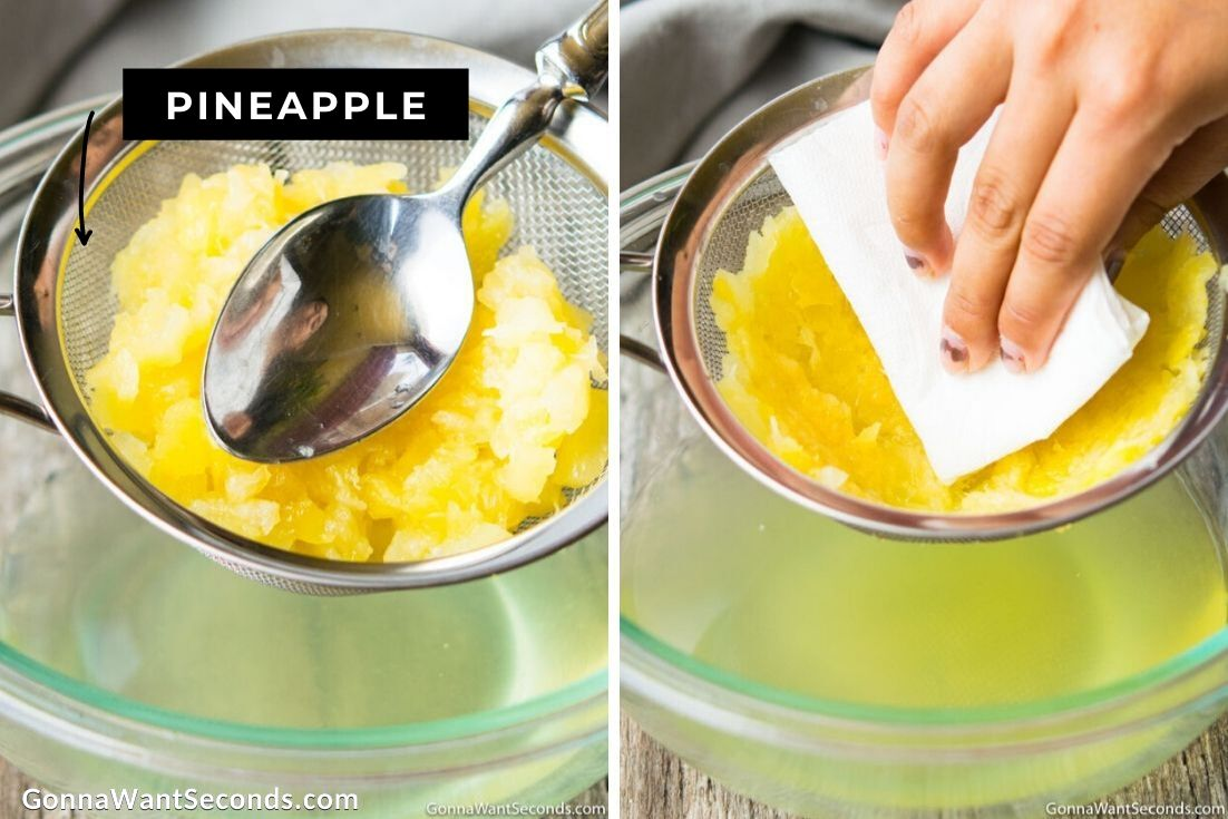 How to make Pig Pickin Cake frosting, draining canned pineapples