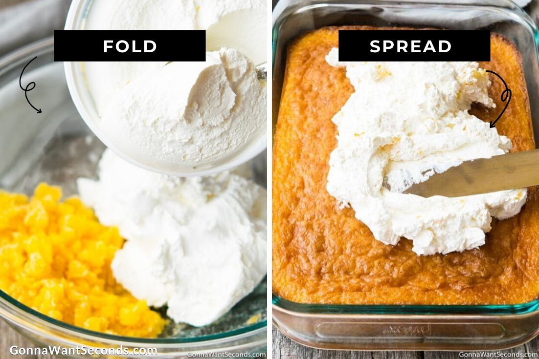 How to make Pig Pickin Cake frosting, folding whip topping and spreading it over the cake